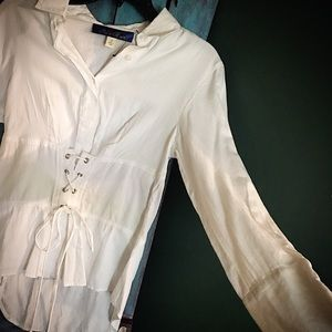 NEVER BEEN WORN!! White corseted blouse!